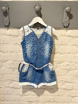 Denim Playsuit with lace back and pearl detail