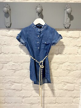 Denim Dress with pearl detail and belt