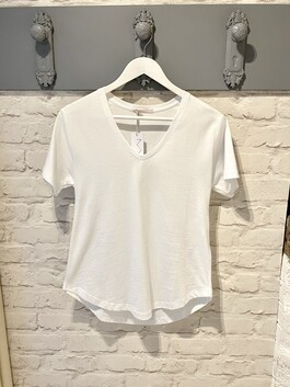 V-Neck White T-shirt (Dotty)